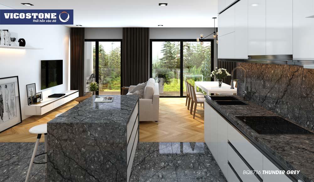 Mẫu đá bàn bếp VICOSTONE THUNDER GREY BQ8716